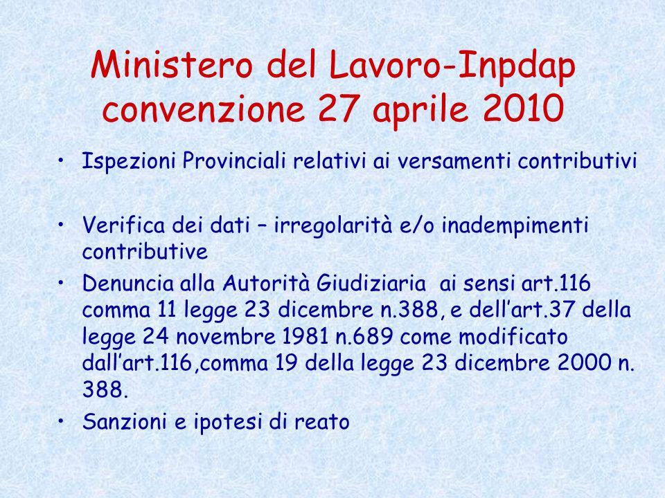 Ministero del Lavoro-Inpdap convenzione 27 aprile 2010 Ispezioni Provinciali relativi ai versamenti contributivi Verifica dei dati – irregolarità e/o