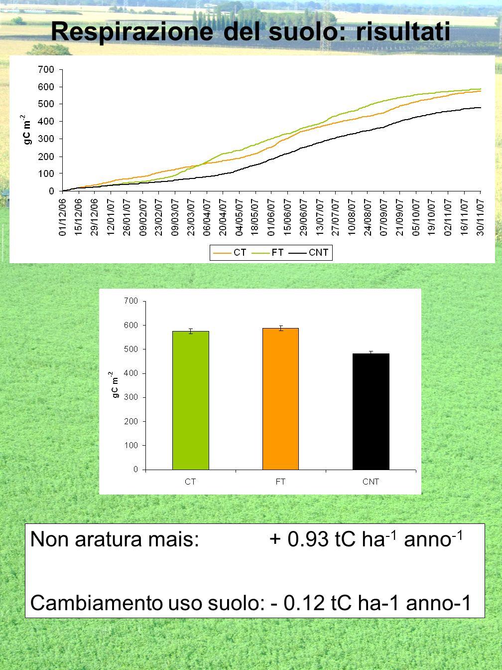 Respirazione del suolo: risultati Non aratura mais: + 0.93 tC ha -1 anno -1 Cambiamento uso suolo: - 0.12 tC ha-1 anno-1