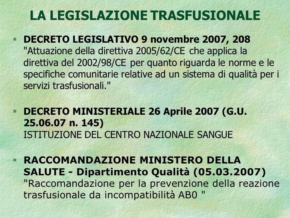 LA LEGISLAZIONE TRASFUSIONALE ITALIANA § Legge n° 219 del 21 OTTOBRE 2005 Nuova disciplina delle attività trasfusionali e della produzione nazionale degli emoderivati § Decreto Legislativo 19 AGOSTO 2005 n.