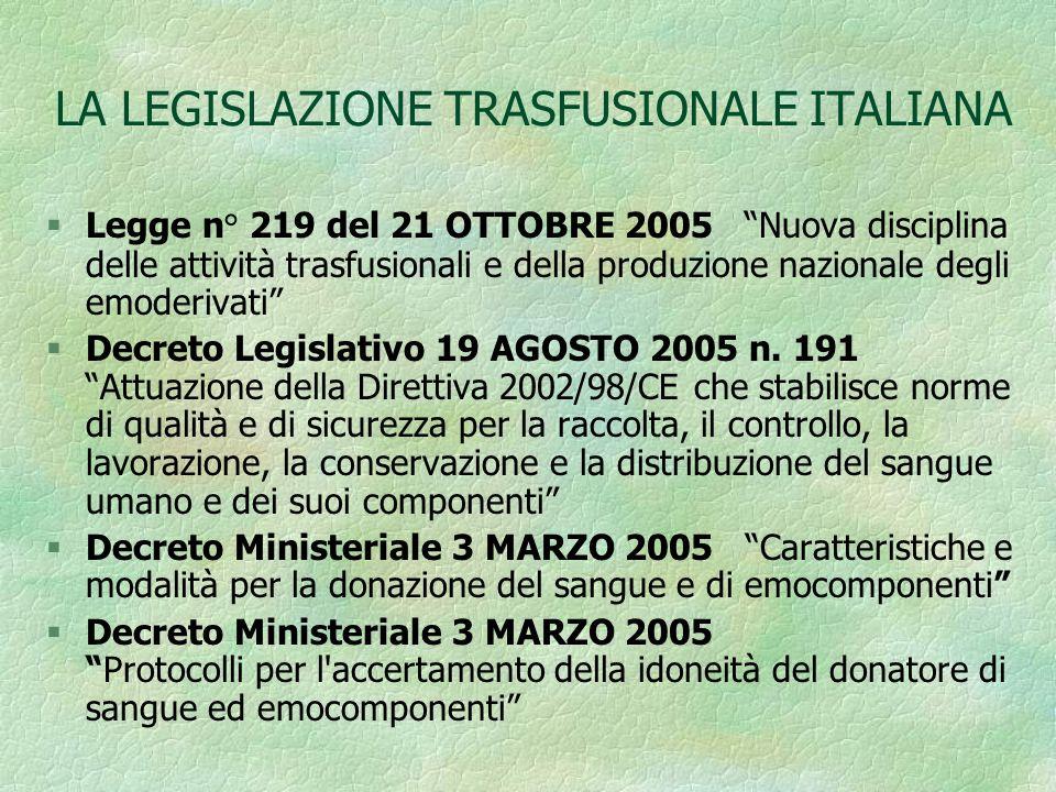 IL CONSENSO ALLA TRASFUSIONE Decreto Ministero della Sanità 3 marzo 2005: -Art.