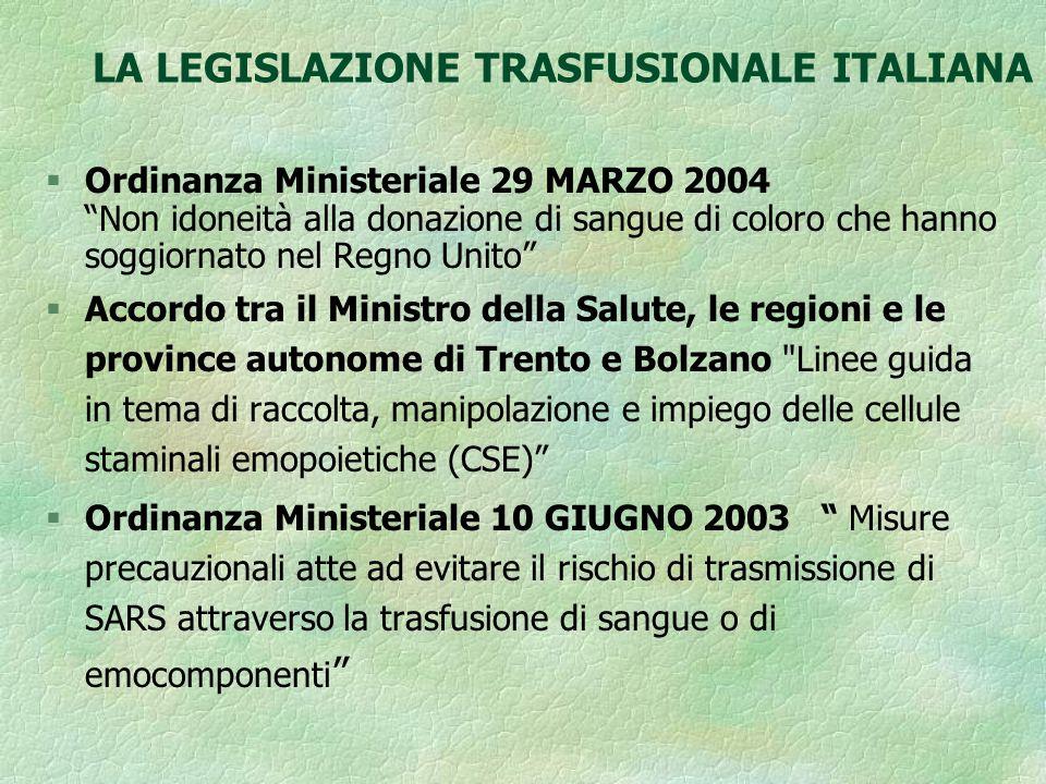 LA LEGISLAZIONE TRASFUSIONALE ITALIANA § Direttiva 2005/61/CE della COMMISSIONE del 30 Settembre 2005 applica la Direttiva 2002/98/CE del Parlamento europeo e del Consiglio per quanto riguarda le prescrizioni in tema di rintracciabilità e la notifica di effetti indesiderati ed incidenti gravi.