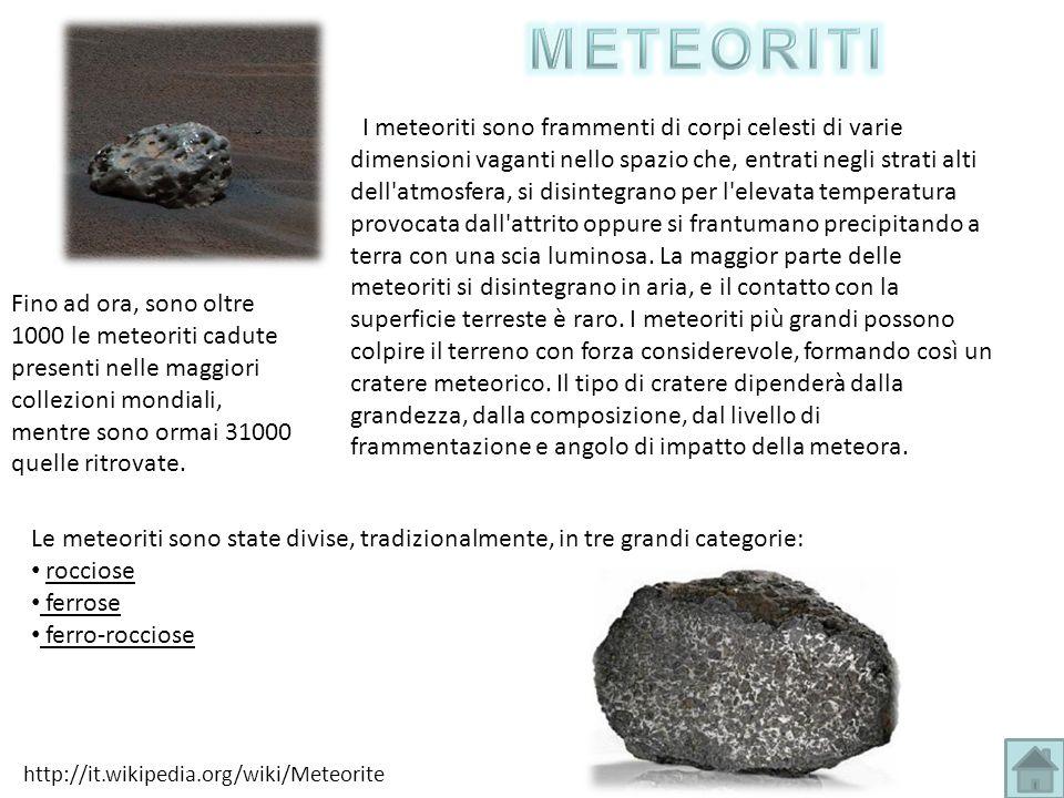 I meteoriti sono frammenti di corpi celesti di varie dimensioni vaganti nello spazio che, entrati negli strati alti dell'atmosfera, si disintegrano pe