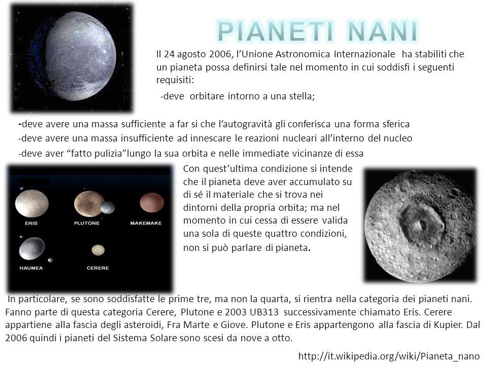 Il 24 agosto 2006, lUnione Astronomica Internazionale ha stabiliti che un pianeta possa definirsi tale nel momento in cui soddisfi i seguenti requisit