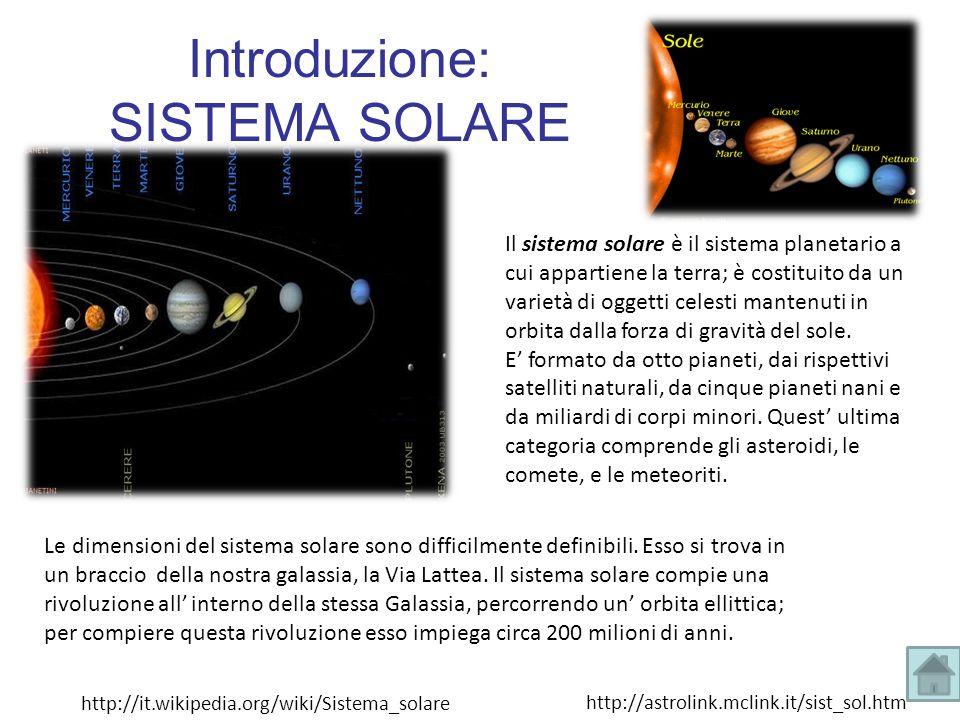 Il sistema solare è il sistema planetario a cui appartiene la terra; è costituito da un varietà di oggetti celesti mantenuti in orbita dalla forza di