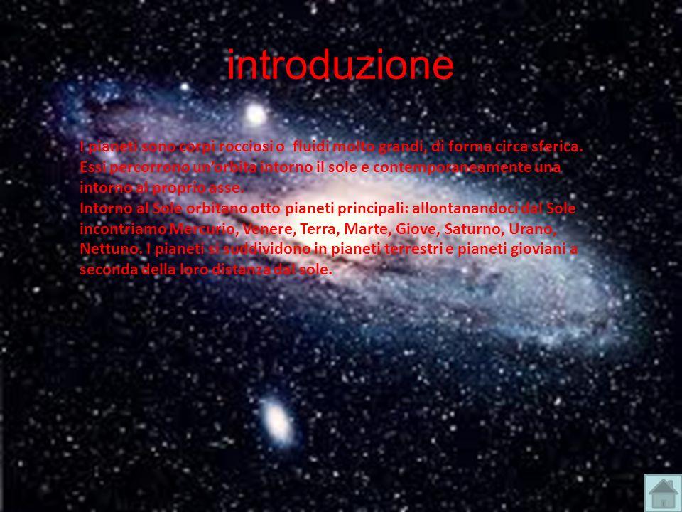 introduzione I pianeti sono corpi rocciosi o fluidi molto grandi, di forma circa sferica. Essi percorrono unorbita intorno il sole e contemporaneament