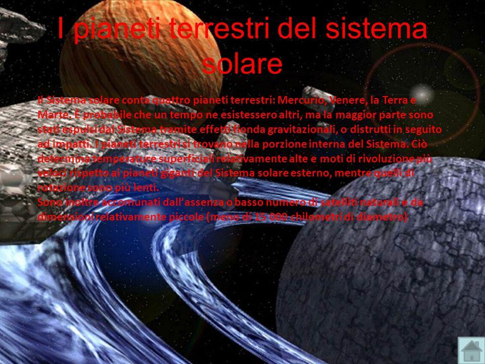 I pianeti terrestri del sistema solare Il Sistema solare conta quattro pianeti terrestri: Mercurio, Venere, la Terra e Marte. È probabile che un tempo