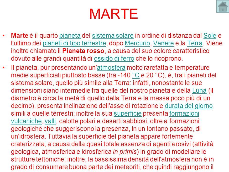 MARTE Marte è il quarto pianeta del sistema solare in ordine di distanza dal Sole e l'ultimo dei pianeti di tipo terrestre, dopo Mercurio, Venere e la