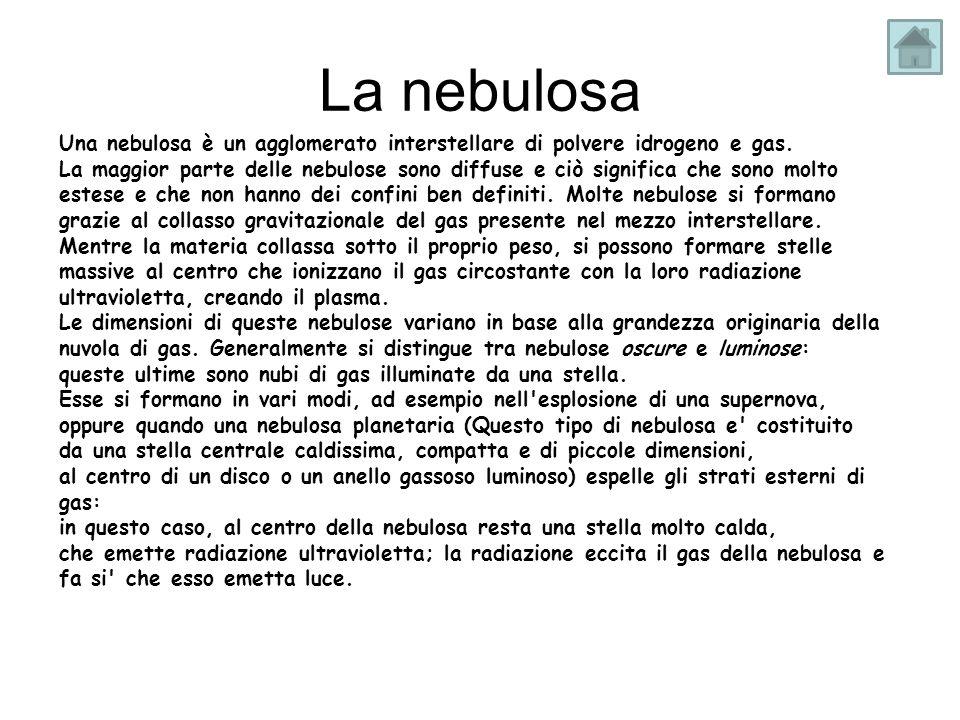La nebulosa Una nebulosa è un agglomerato interstellare di polvere idrogeno e gas. La maggior parte delle nebulose sono diffuse e ciò significa che so