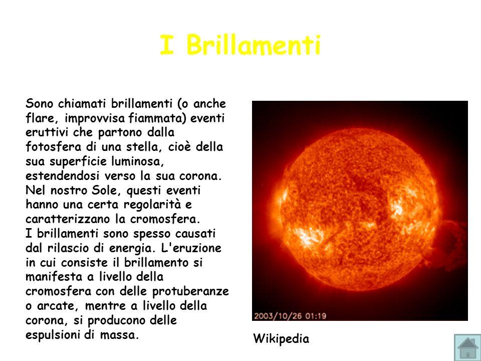 Sono chiamati brillamenti (o anche flare, improvvisa fiammata) eventi eruttivi che partono dalla fotosfera di una stella, cioè della sua superficie lu