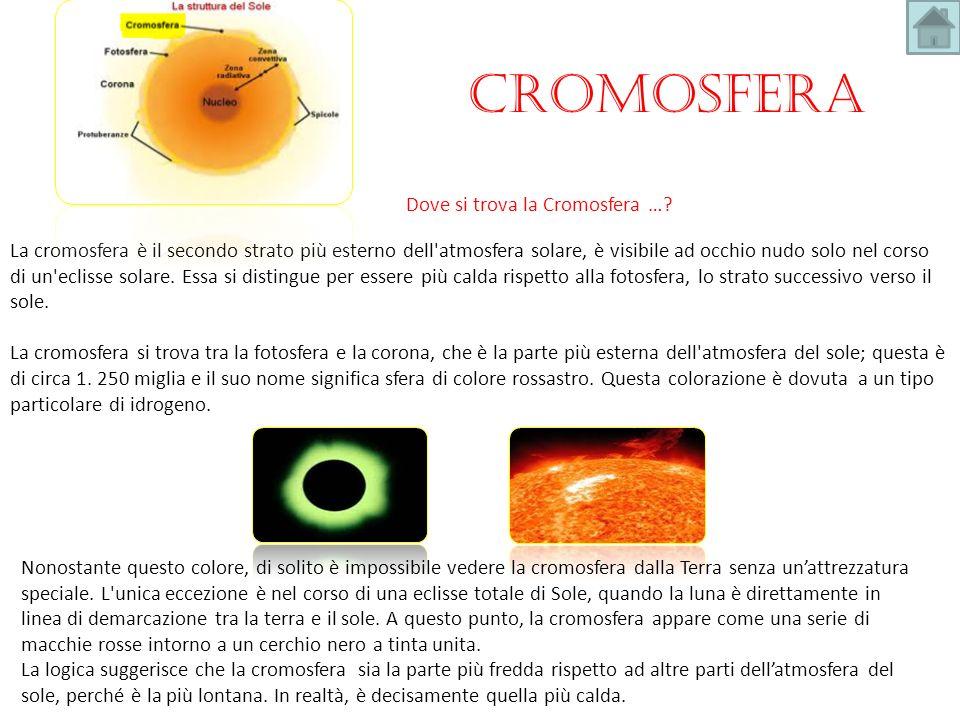 La cromosfera è il secondo strato più esterno dell'atmosfera solare, è visibile ad occhio nudo solo nel corso di un'eclisse solare. Essa si distingue