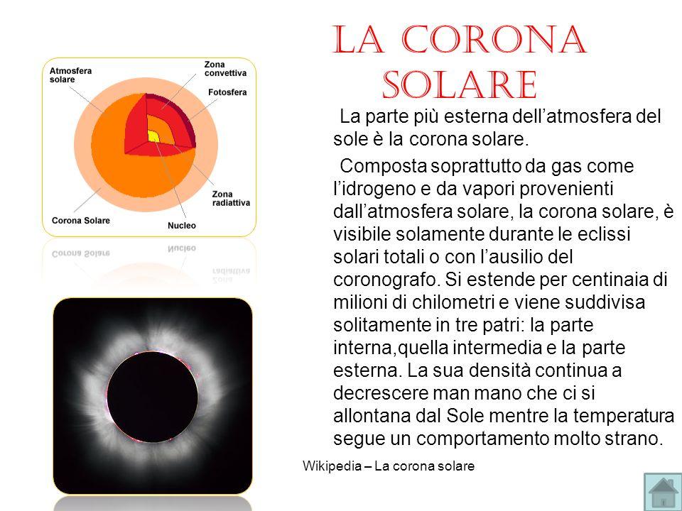 La corona solare La parte più esterna dellatmosfera del sole è la corona solare. Composta soprattutto da gas come lidrogeno e da vapori provenienti da