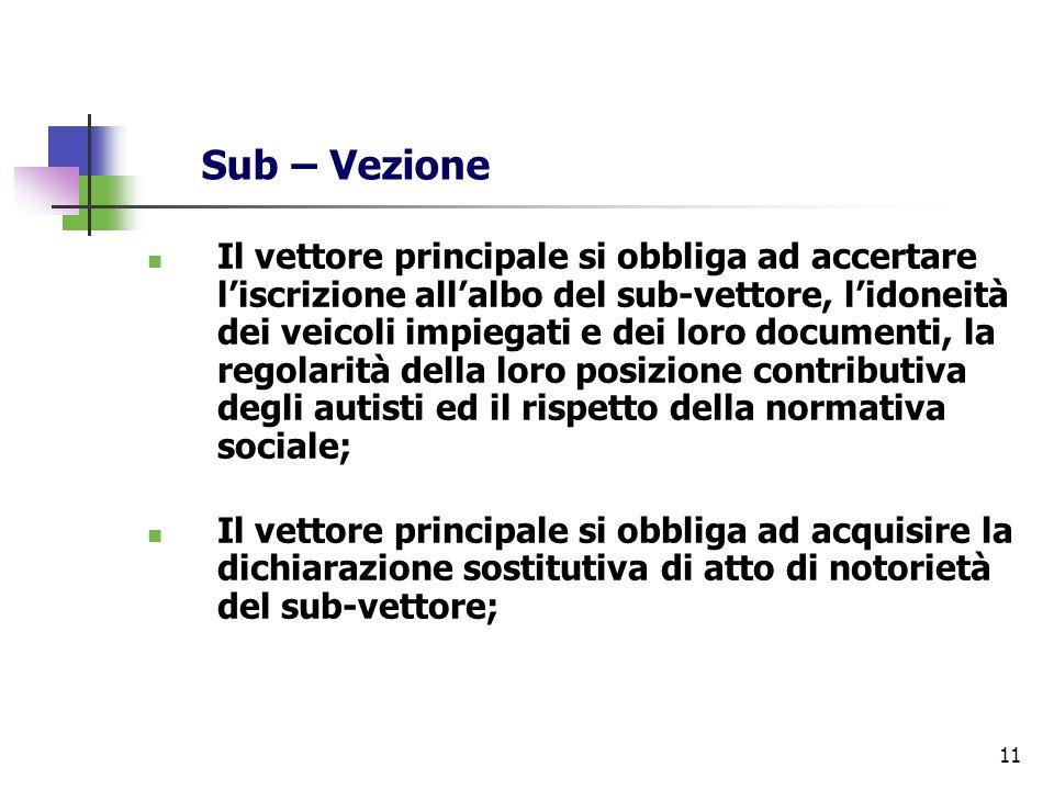 11 Sub – Vezione Il vettore principale si obbliga ad accertare liscrizione allalbo del sub-vettore, lidoneità dei veicoli impiegati e dei loro documen