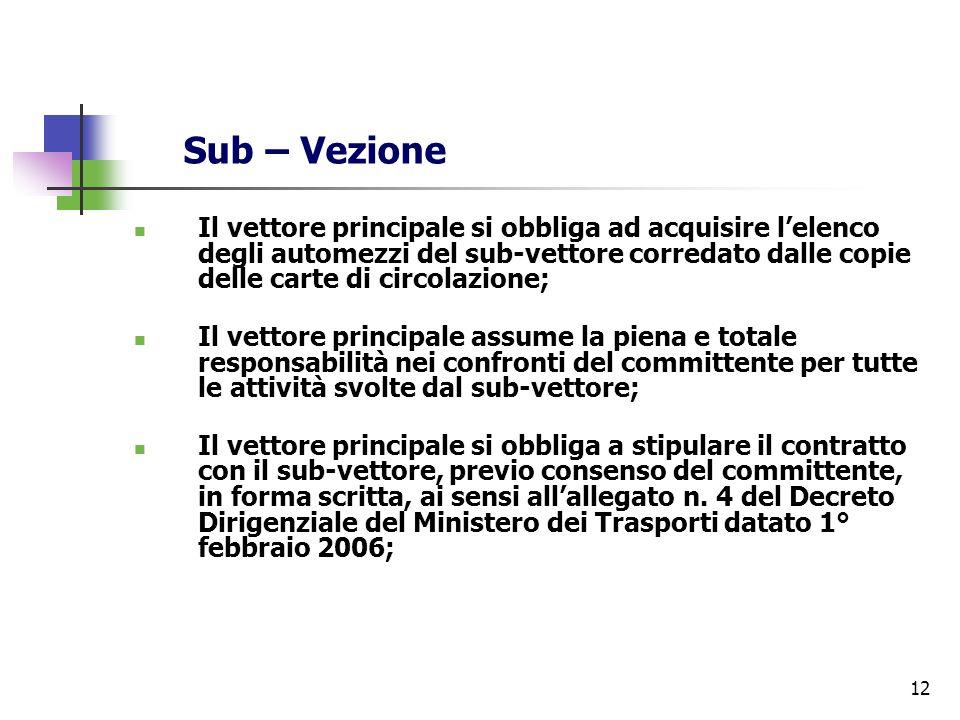 12 Sub – Vezione Il vettore principale si obbliga ad acquisire lelenco degli automezzi del sub-vettore corredato dalle copie delle carte di circolazio