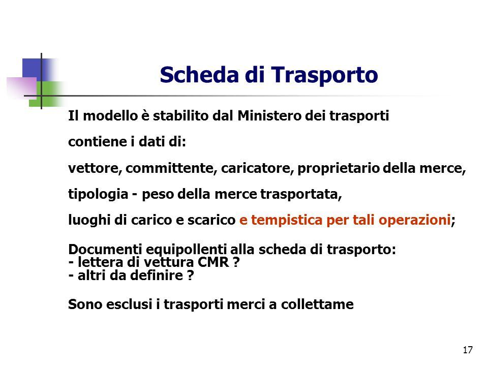 17 Scheda di Trasporto Il modello è stabilito dal Ministero dei trasporti contiene i dati di: vettore, committente, caricatore, proprietario della mer