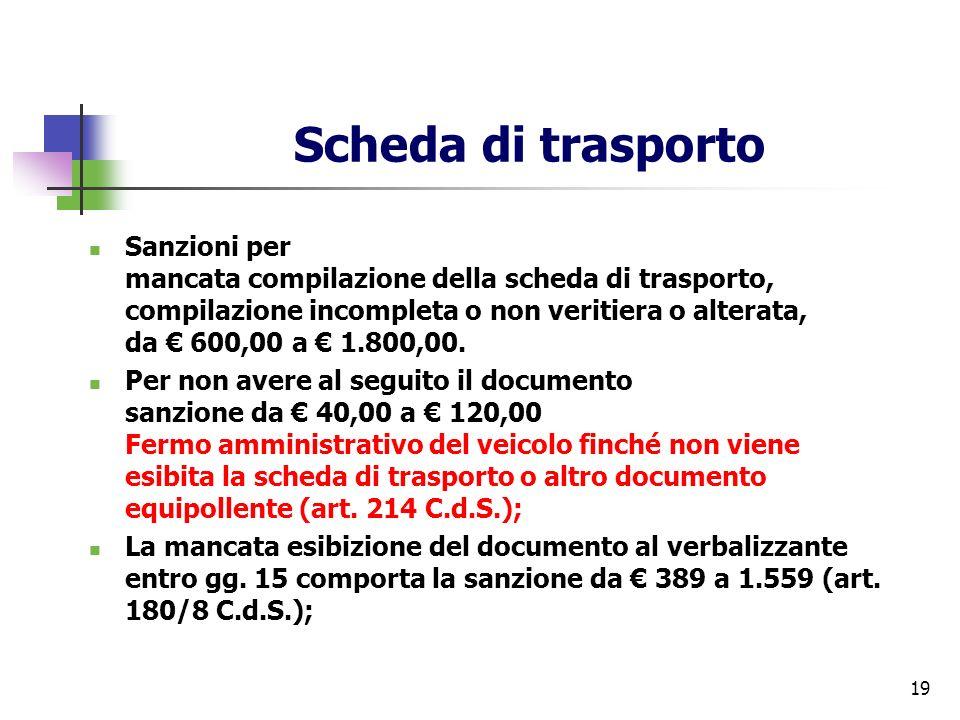 19 Scheda di trasporto Sanzioni per mancata compilazione della scheda di trasporto, compilazione incompleta o non veritiera o alterata, da 600,00 a 1.