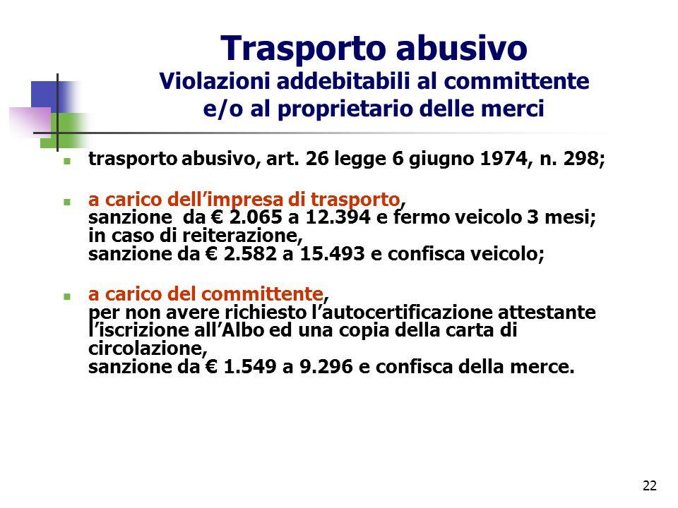 22 Trasporto abusivo Violazioni addebitabili al committente e/o al proprietario delle merci trasporto abusivo, art. 26 legge 6 giugno 1974, n. 298; a