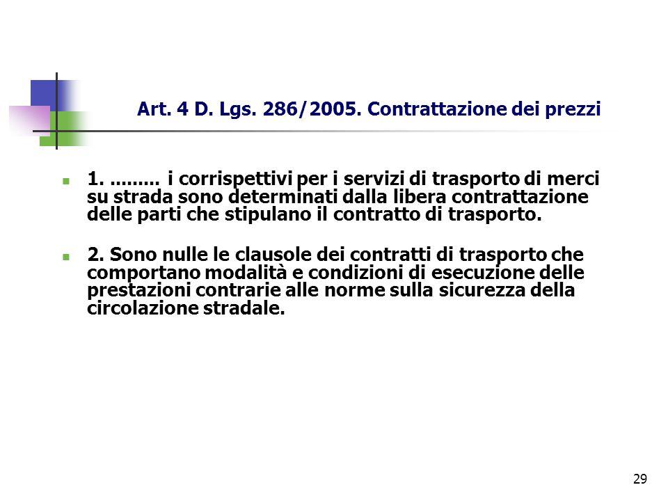 29 Art. 4 D. Lgs. 286/2005. Contrattazione dei prezzi 1.......... i corrispettivi per i servizi di trasporto di merci su strada sono determinati dalla