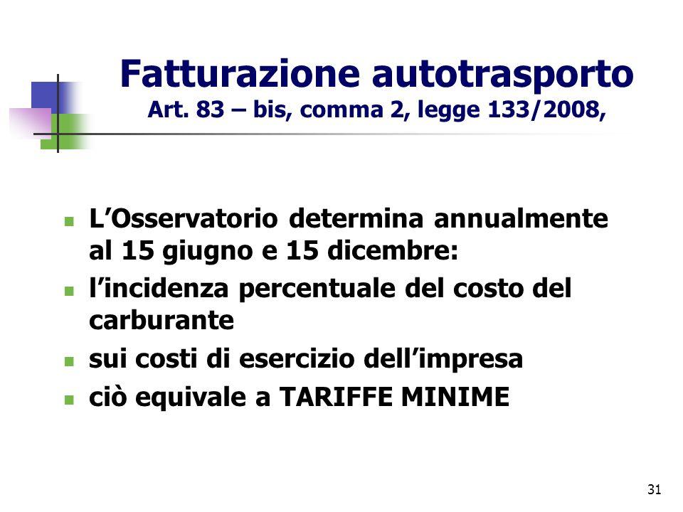 31 Fatturazione autotrasporto Art. 83 – bis, comma 2, legge 133/2008, LOsservatorio determina annualmente al 15 giugno e 15 dicembre: lincidenza perce