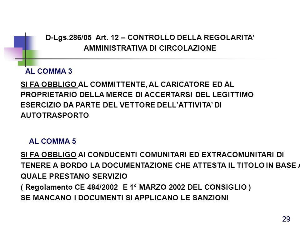 D-Lgs.286/05 Art. 12 – CONTROLLO DELLA REGOLARITA AMMINISTRATIVA DI CIRCOLAZIONE SI FA OBBLIGO AI CONDUCENTI COMUNITARI ED EXTRACOMUNITARI DI TENERE A