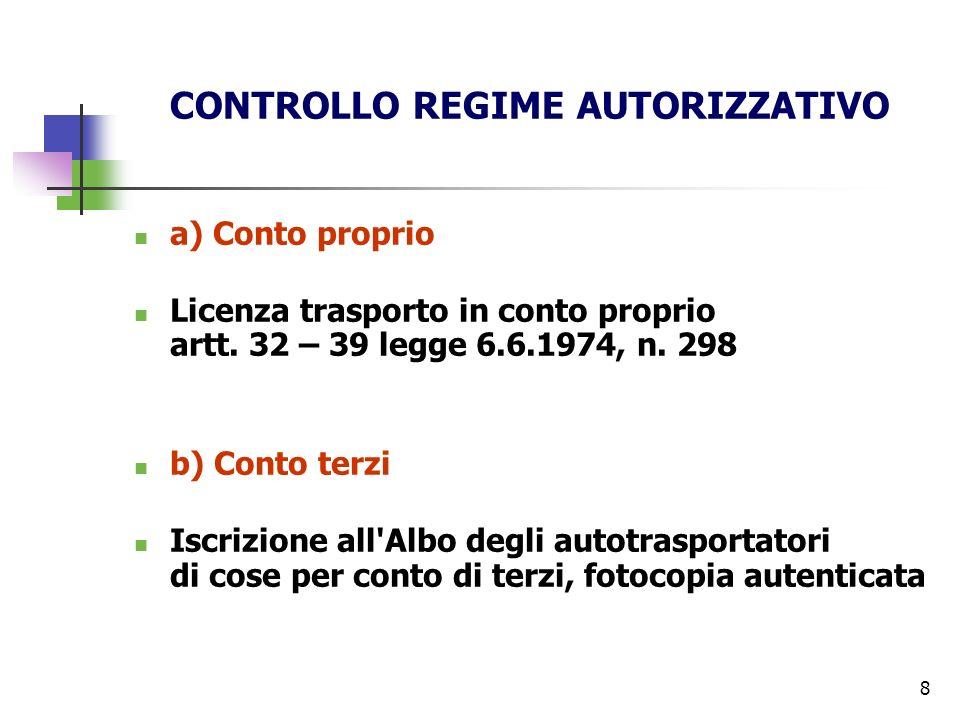 8 CONTROLLO REGIME AUTORIZZATIVO a) Conto proprio Licenza trasporto in conto proprio artt. 32 – 39 legge 6.6.1974, n. 298 b) Conto terzi Iscrizione al