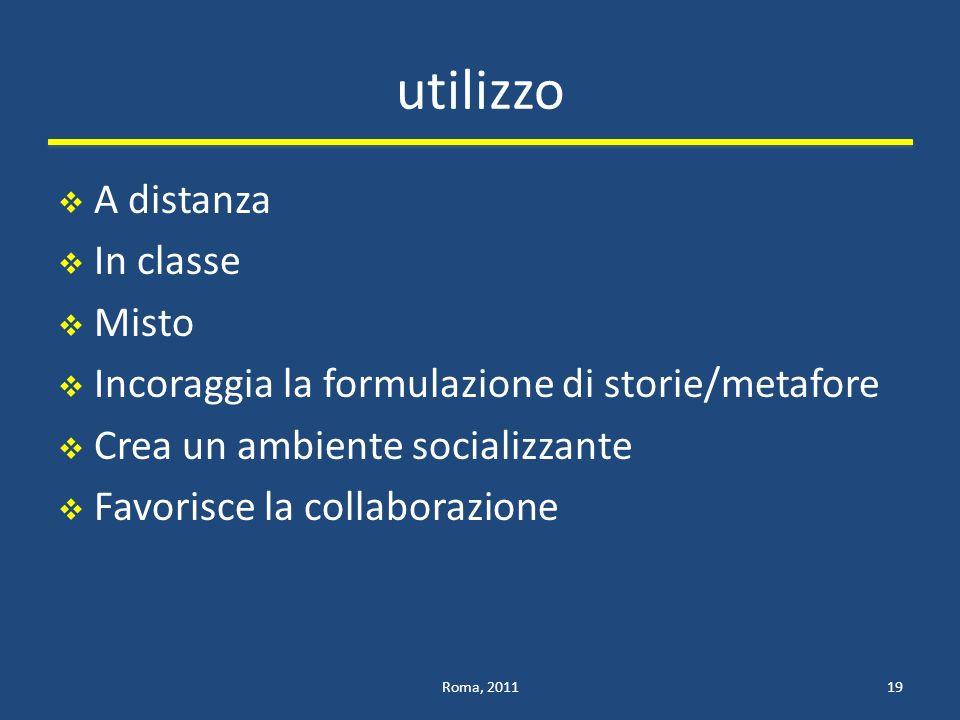 utilizzo A distanza In classe Misto Incoraggia la formulazione di storie/metafore Crea un ambiente socializzante Favorisce la collaborazione Roma, 201119