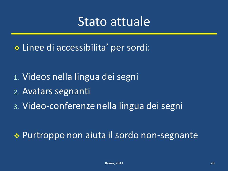 Stato attuale Linee di accessibilita per sordi: 1.