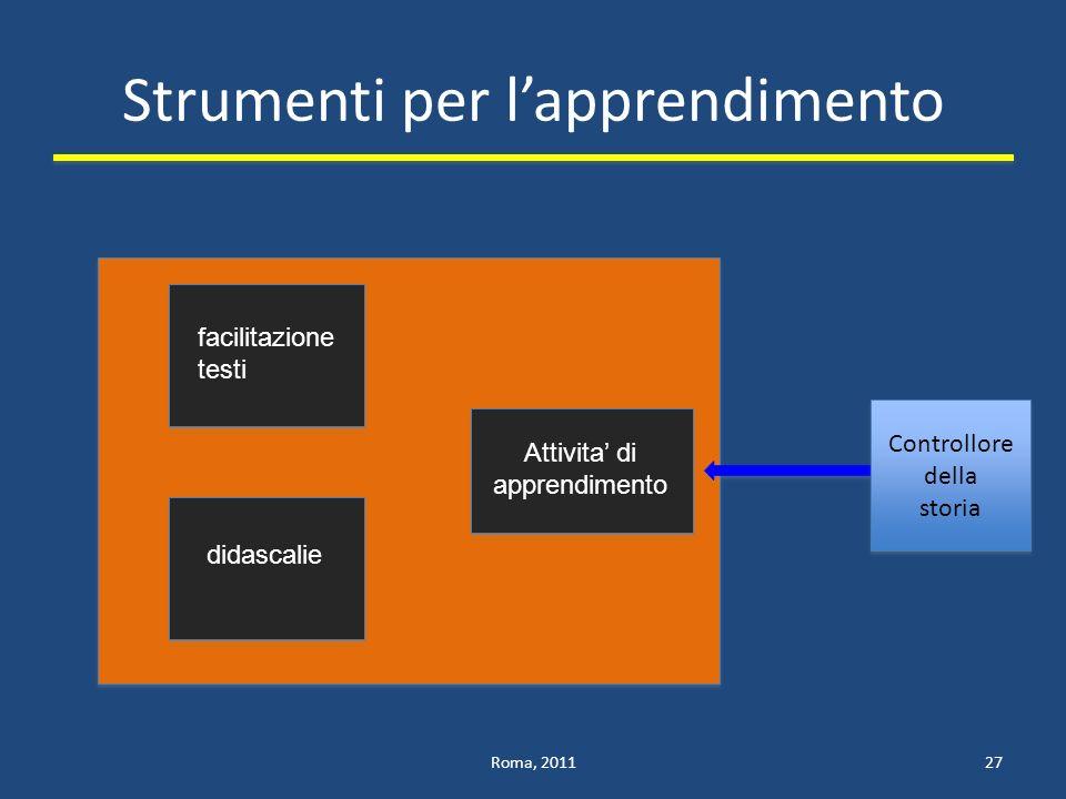Strumenti per lapprendimento Roma, 201127 facilitazione testi didascalie Attivita di apprendimento Controllore della storia Controllore della storia