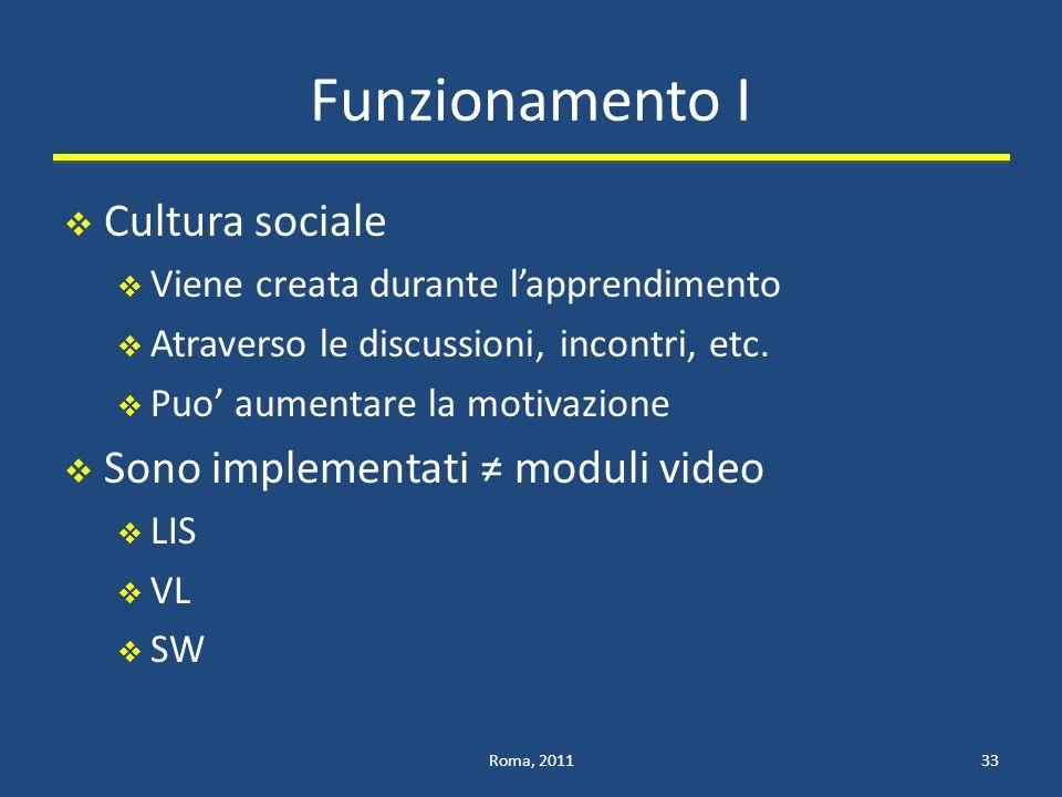 Funzionamento I Cultura sociale Viene creata durante lapprendimento Atraverso le discussioni, incontri, etc.