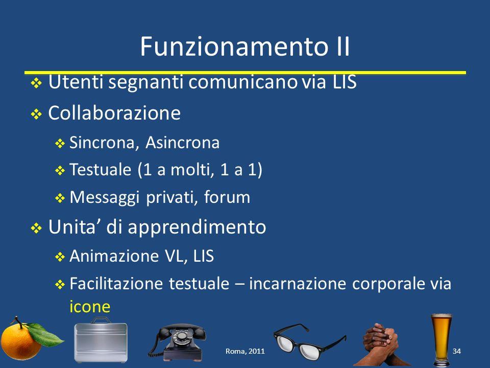 Funzionamento II Utenti segnanti comunicano via LIS Collaborazione Sincrona, Asincrona Testuale (1 a molti, 1 a 1) Messaggi privati, forum Unita di apprendimento Animazione VL, LIS Facilitazione testuale – incarnazione corporale via icone Roma, 201134