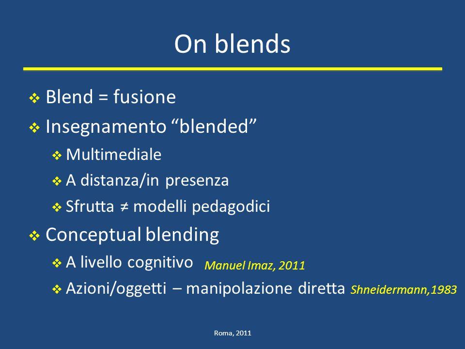On blends Blend = fusione Insegnamento blended Multimediale A distanza/in presenza Sfrutta modelli pedagodici Conceptual blending A livello cognitivo Azioni/oggetti – manipolazione diretta Shneidermann,1983 Roma, 2011 Manuel Imaz, 2011