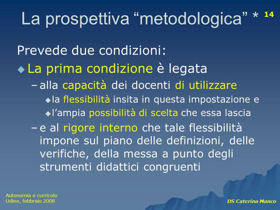 Autonomia e curricolo Udine, febbraio 2008 DS Caterina Manco 14 La prospettiva metodologica * Prevede due condizioni: La prima condizione è legata –al