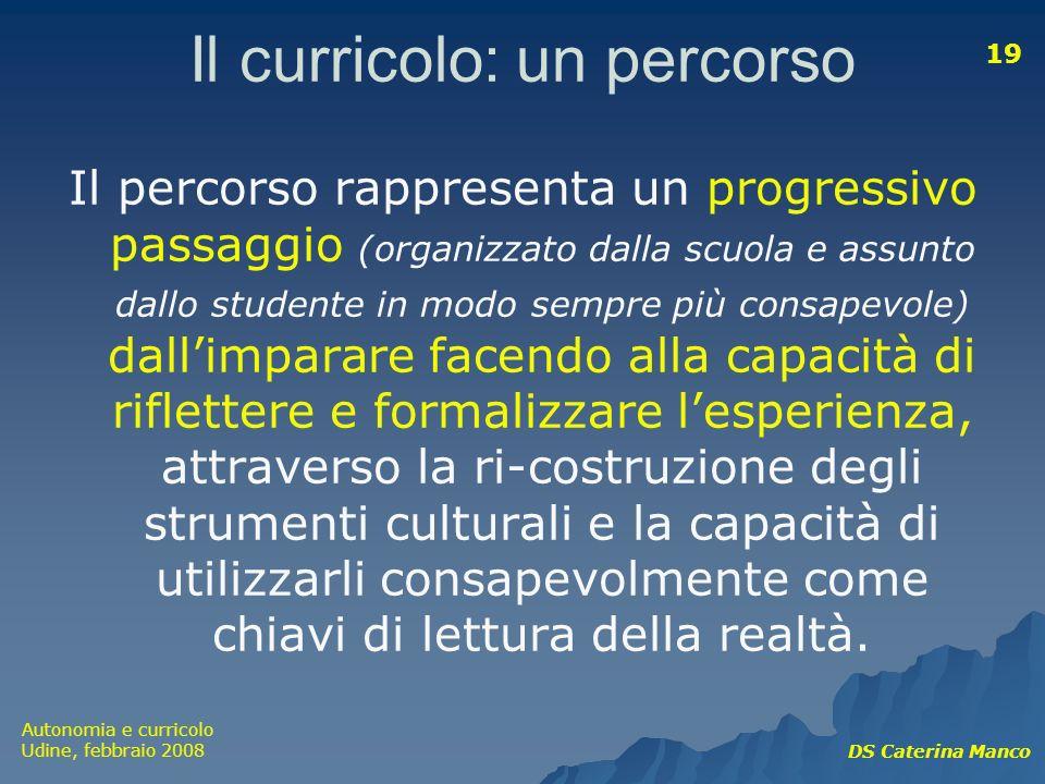 Autonomia e curricolo Udine, febbraio 2008 DS Caterina Manco 19 Il curricolo: un percorso Il percorso rappresenta un progressivo passaggio (organizzat
