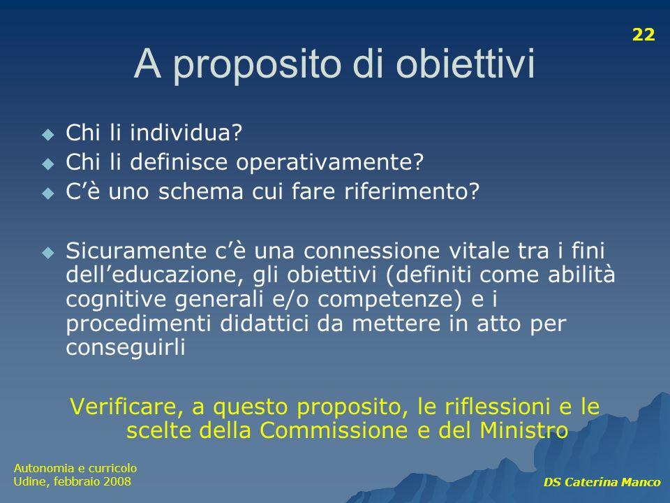 Autonomia e curricolo Udine, febbraio 2008 DS Caterina Manco 22 A proposito di obiettivi Chi li individua? Chi li definisce operativamente? Cè uno sch
