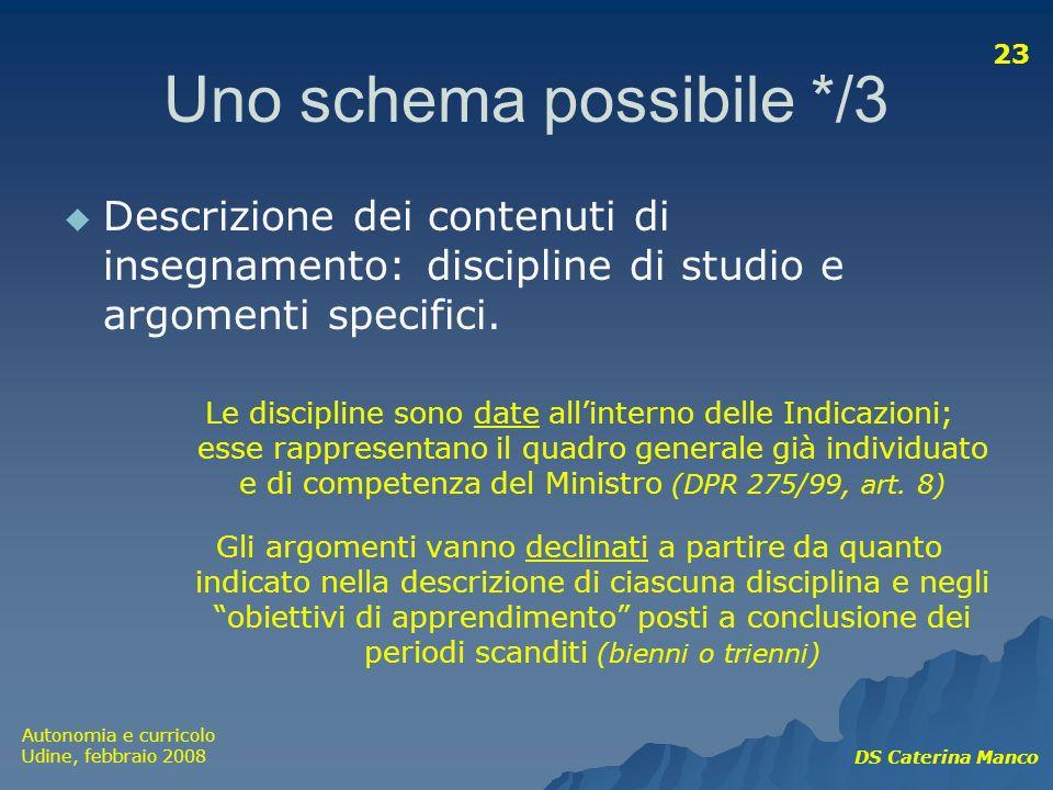 Autonomia e curricolo Udine, febbraio 2008 DS Caterina Manco 23 Uno schema possibile */3 Descrizione dei contenuti di insegnamento: discipline di stud
