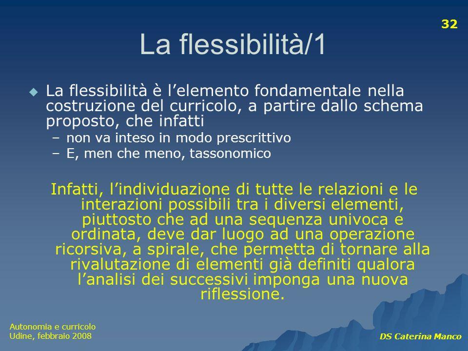 Autonomia e curricolo Udine, febbraio 2008 DS Caterina Manco 32 La flessibilità/1 La flessibilità è lelemento fondamentale nella costruzione del curri