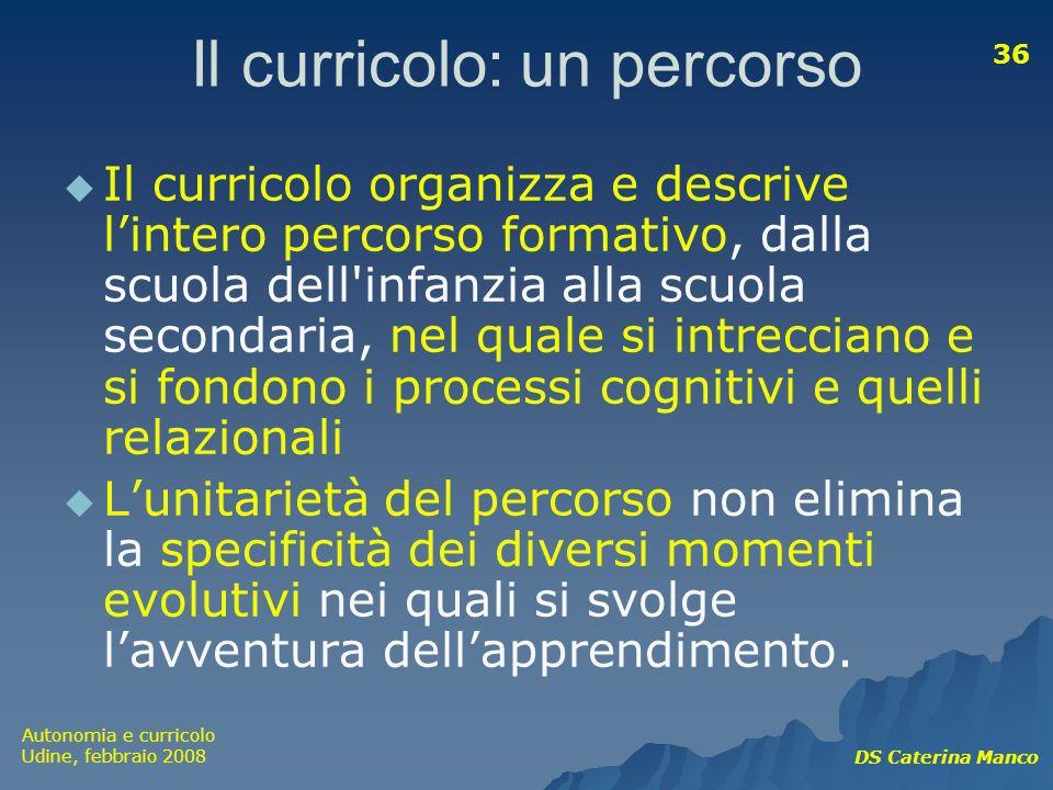 Autonomia e curricolo Udine, febbraio 2008 DS Caterina Manco 36 Il curricolo: un percorso Il curricolo organizza e descrive lintero percorso formativo