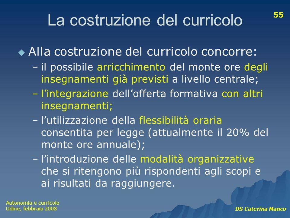 Autonomia e curricolo Udine, febbraio 2008 DS Caterina Manco 55 La costruzione del curricolo Alla costruzione del curricolo concorre: –il possibile ar