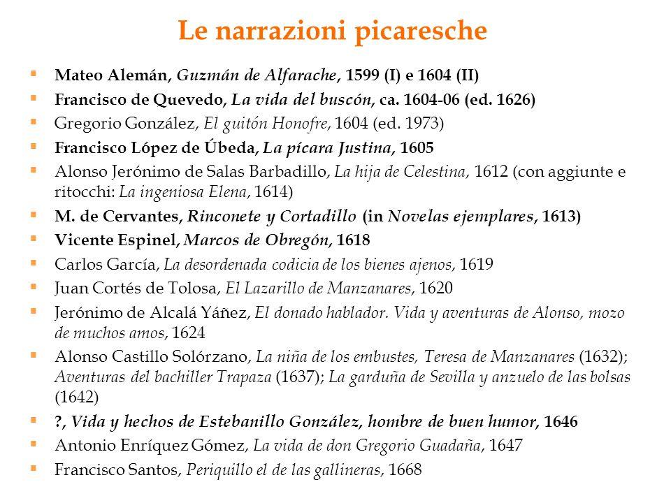Le narrazioni picaresche Mateo Alemán, Guzmán de Alfarache, 1599 (I) e 1604 (II) Francisco de Quevedo, La vida del buscón, ca. 1604-06 (ed. 1626) Greg
