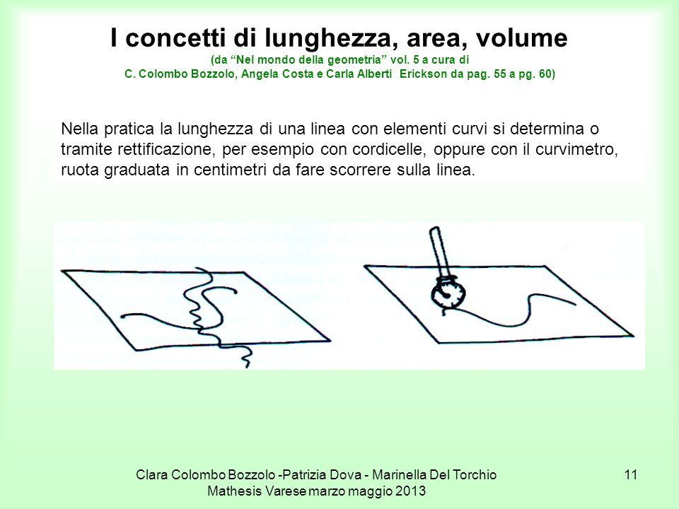 Clara Colombo Bozzolo -Patrizia Dova - Marinella Del Torchio Mathesis Varese marzo maggio 2013 11 I concetti di lunghezza, area, volume (da Nel mondo