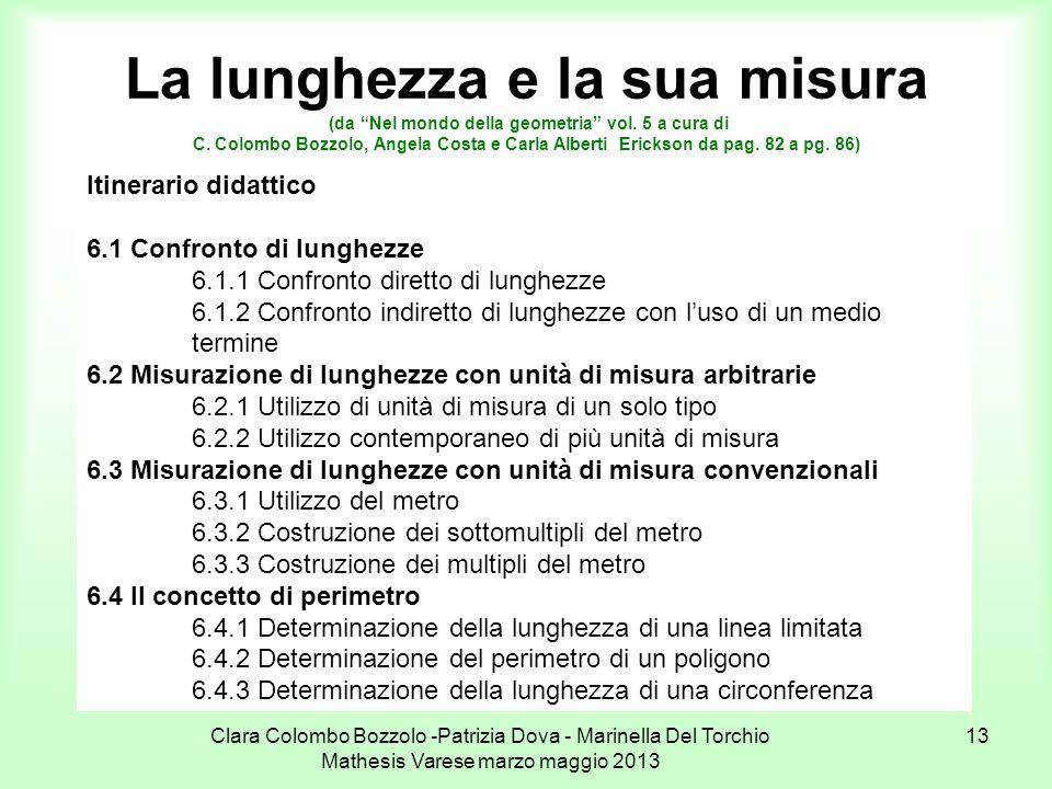 Clara Colombo Bozzolo -Patrizia Dova - Marinella Del Torchio Mathesis Varese marzo maggio 2013 13 La lunghezza e la sua misura (da Nel mondo della geo