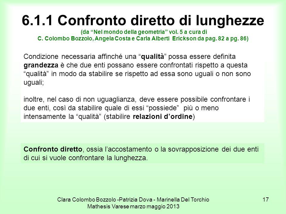 Clara Colombo Bozzolo -Patrizia Dova - Marinella Del Torchio Mathesis Varese marzo maggio 2013 17 6.1.1 Confronto diretto di lunghezze (da Nel mondo d