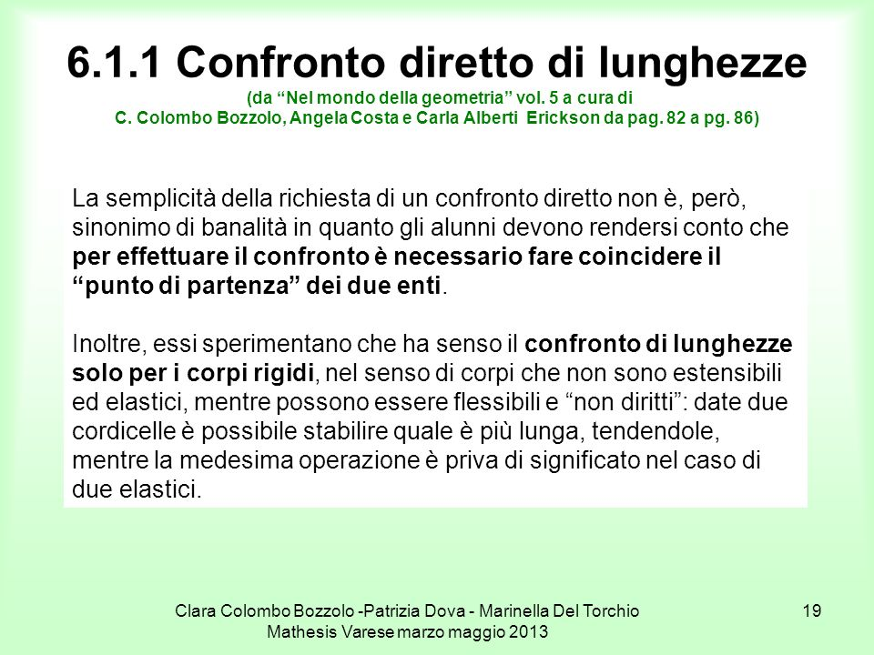 Clara Colombo Bozzolo -Patrizia Dova - Marinella Del Torchio Mathesis Varese marzo maggio 2013 19 6.1.1 Confronto diretto di lunghezze (da Nel mondo d
