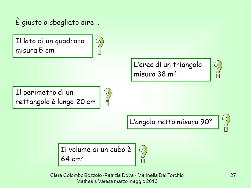 Clara Colombo Bozzolo -Patrizia Dova - Marinella Del Torchio Mathesis Varese marzo maggio 2013 27 È giusto o sbagliato dire … Il lato di un quadrato m