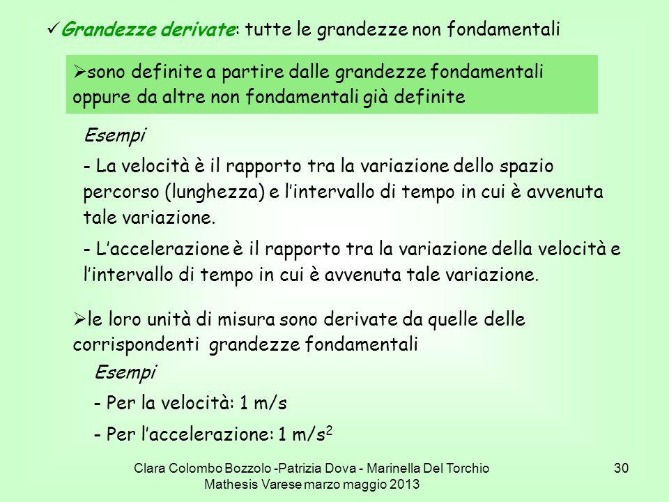 Clara Colombo Bozzolo -Patrizia Dova - Marinella Del Torchio Mathesis Varese marzo maggio 2013 30 Grandezze derivate: tutte le grandezze non fondament