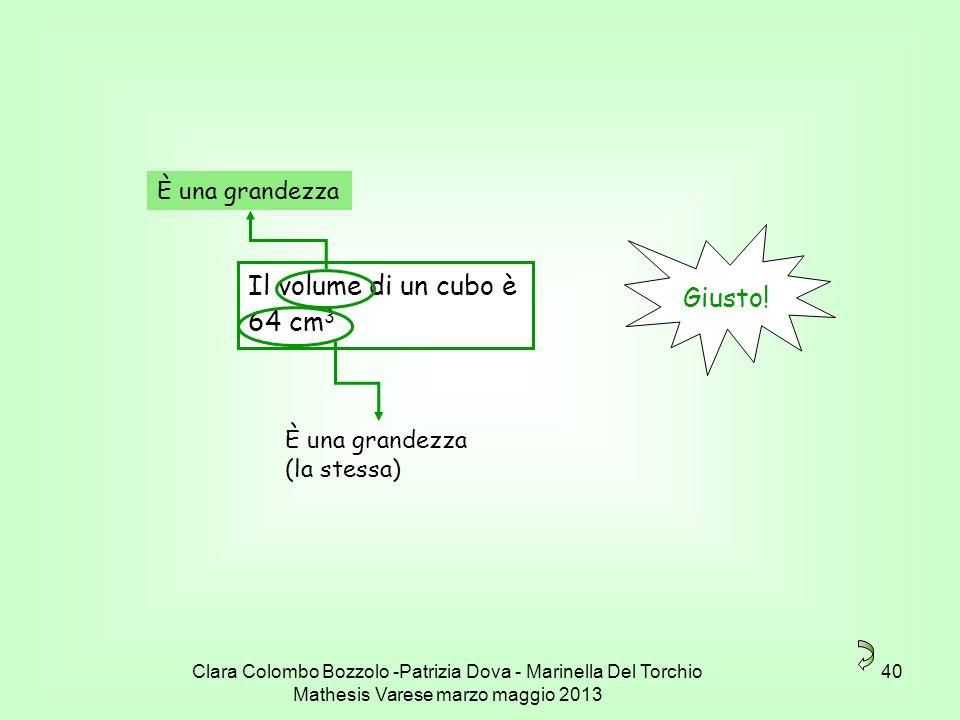 Clara Colombo Bozzolo -Patrizia Dova - Marinella Del Torchio Mathesis Varese marzo maggio 2013 40 Il volume di un cubo è 64 cm 3 Giusto! È una grandez