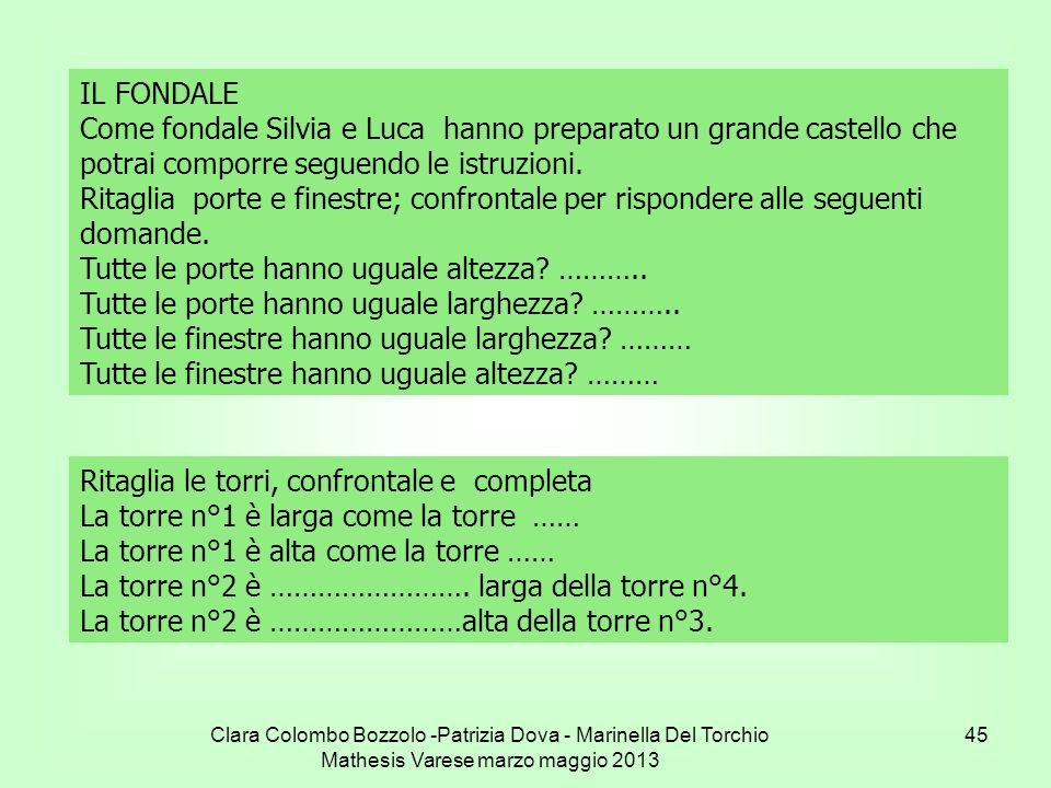 Clara Colombo Bozzolo -Patrizia Dova - Marinella Del Torchio Mathesis Varese marzo maggio 2013 45 IL FONDALE Come fondale Silvia e Luca hanno preparat