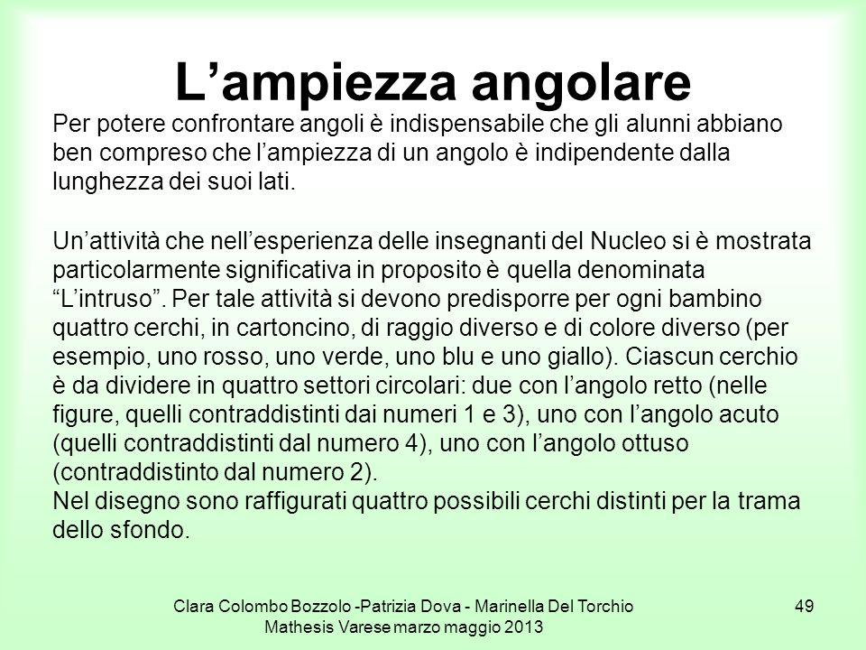 Clara Colombo Bozzolo -Patrizia Dova - Marinella Del Torchio Mathesis Varese marzo maggio 2013 49 Lampiezza angolare Per potere confrontare angoli è i