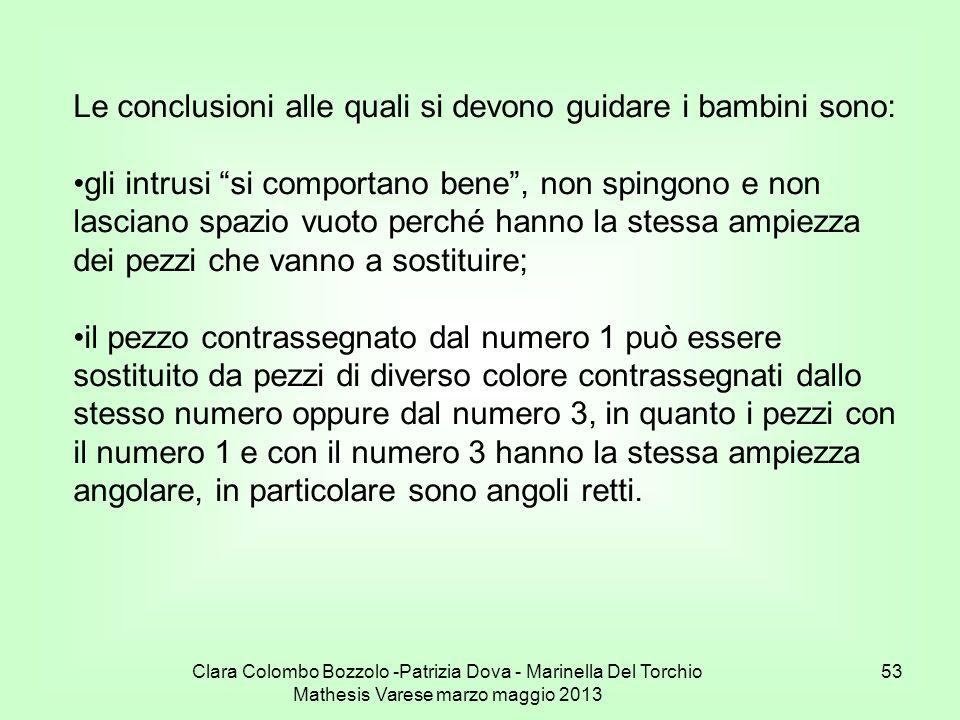 Clara Colombo Bozzolo -Patrizia Dova - Marinella Del Torchio Mathesis Varese marzo maggio 2013 53 Le conclusioni alle quali si devono guidare i bambin