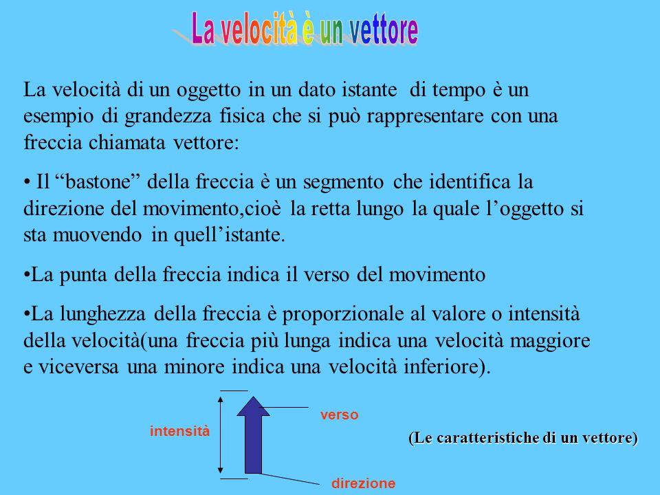 La velocità di un oggetto in un dato istante di tempo è un esempio di grandezza fisica che si può rappresentare con una freccia chiamata vettore: Il bastone della freccia è un segmento che identifica la direzione del movimento,cioè la retta lungo la quale loggetto si sta muovendo in quellistante.