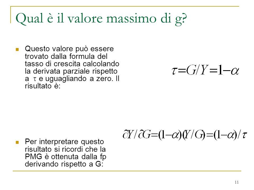 11 Qual è il valore massimo di g? Questo valore può essere trovato dalla formula del tasso di crescita calcolando la derivata parziale rispetto a e ug